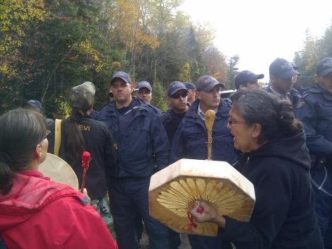 Image of the Mi'kmaq blockade standoff shared via Twitter yesterday.